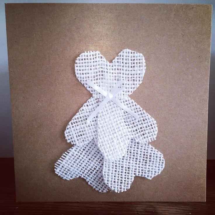 Wedding Card www.etsy.com/uk/shop/Roseybuddles #burlap #weddingcard #handmadecard #vintagewedding
