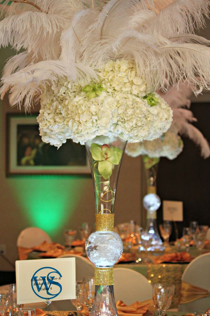 hydrangea and feathers centerpiece http://idowedbysheri ...
