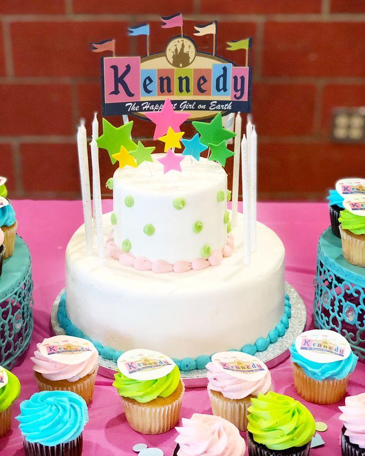 Disneyland Birthday Cake  Disney Birthday Party Planning Tips and Decoration Ideas. Disney Themed First Birthday with Disney Princess and Vintage Disneyland decorations.