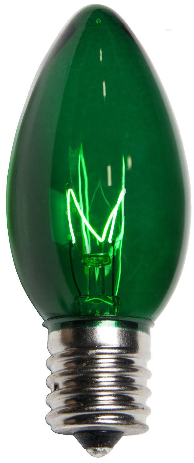 C9 Transparent Green, 7 Watt, 25 Triple Dipped Replacement Lamps.***R***