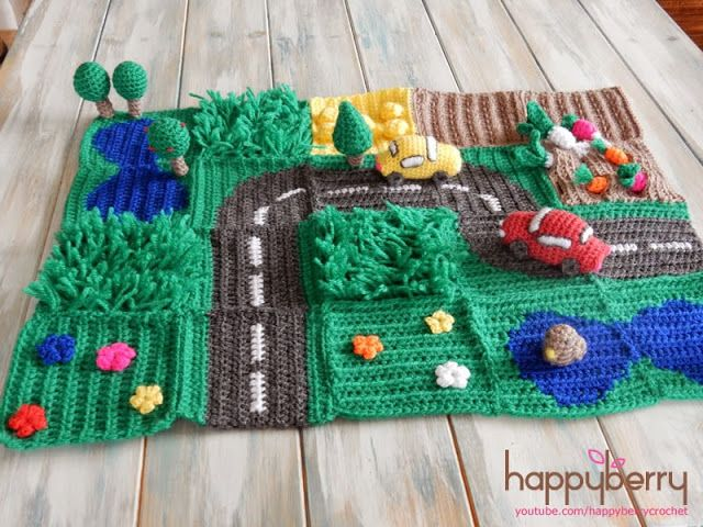 Happy Berry Crochet: CAL Crochet Road Play Mat - Tutorial 5: Vegetable Patch & Flower Field