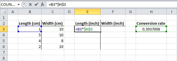 To create an absolute reference to cell H3, place a $ symbol in front of the column letter and row number of cell H3 ($H$3) in the formula of cell E3. Now we can quickly drag this formula to the other cells. The reference to cell H3 is fixed (when we drag the formula down and across). As a result, the correct lengths and widths in inches will be calculated.