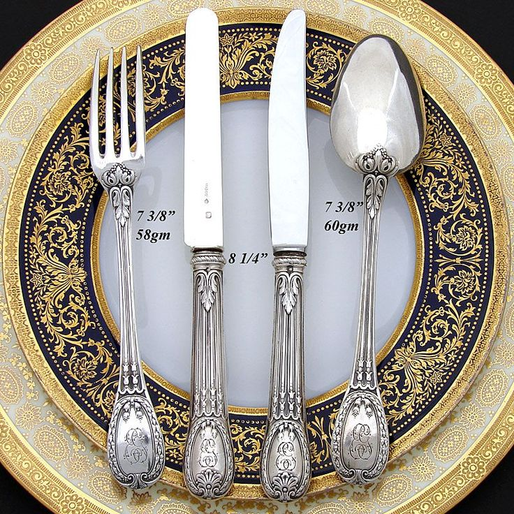 Antique French ODIOT 48pc sterling flatware set: Louveciennes Pattern