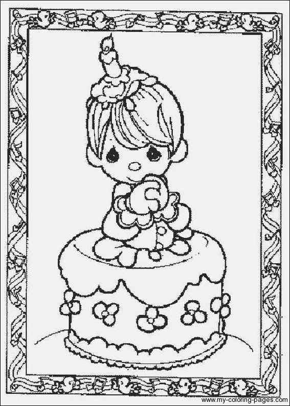 Precious moments coloring pages birthday