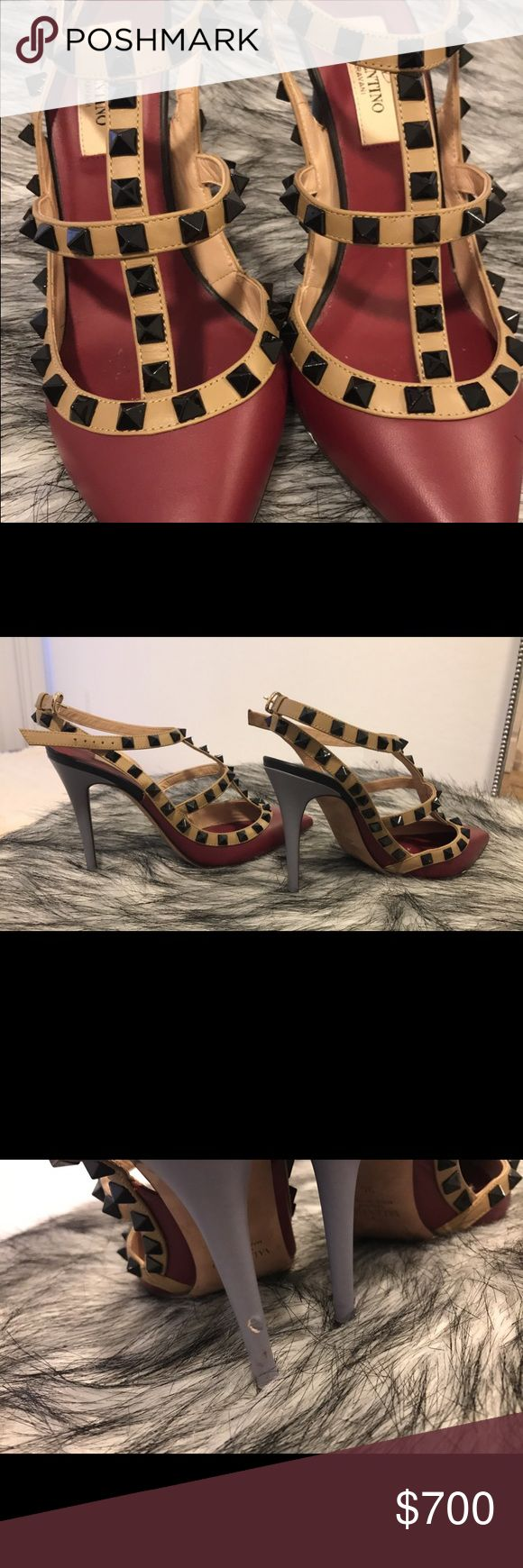 Valentino Rockstud Heels Multi colored Valentino Rockstud! Overall amazing condition. Worn a few times. Still too small for me! Only a small scuff on one of the heels as shown in the picture (very unnoticeable). 100% Authentic ! Valentino Shoes Heels