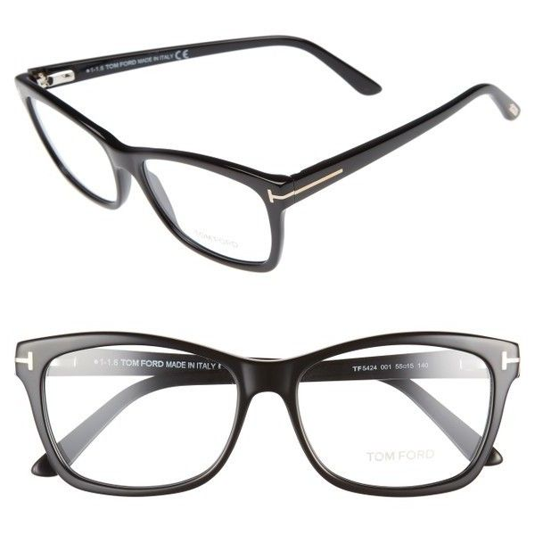 Women's Tom Ford 55Mm Optical Frames ($345) ❤ liked on Polyvore featuring accessories, eyewear, eyeglasses, shiny black, tom ford, tom ford eye glasses, tom ford eyeglasses, tom ford eyewear and tom ford glasses