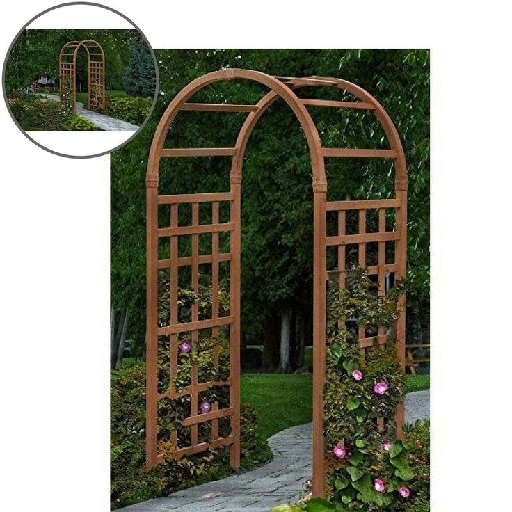 Garden Arbor Outdoor Wedding Yard Vinyl Gate Patio Decor Brown Pergola #Unbranded