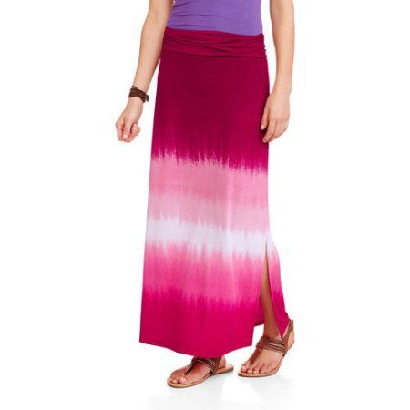 Faded Glory Women's Maxi Skirt with Side Slits, Size: Medium, Multicolor