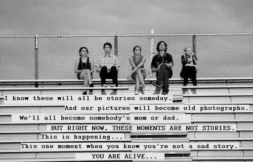 My Favorite Perks of Being a Wallflower Quote. Idea for quote for senior video.