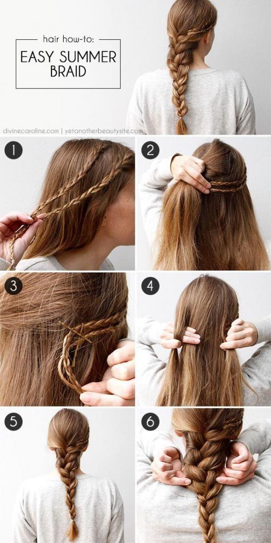 Maak aan de zijkant van je hoofd twee fijne vlechtjes en speld ze vast. Maak daarna  een vlecht die je wat losser trekt.
