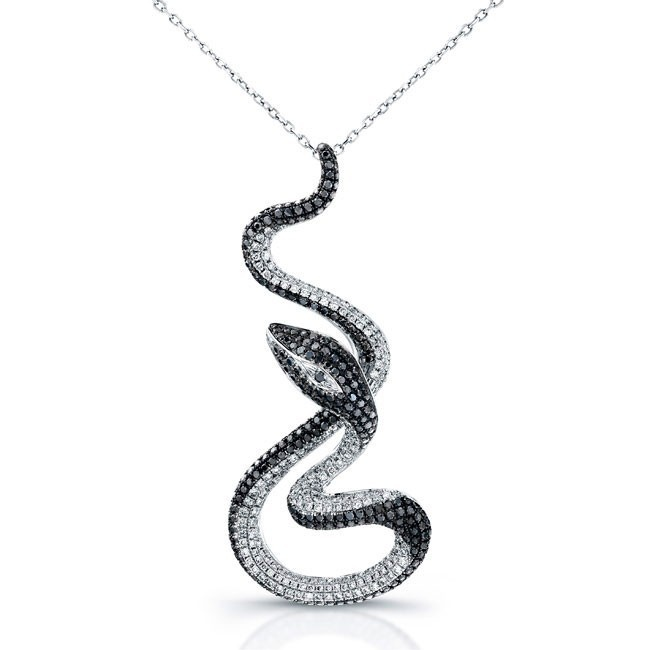 14k White Gold White-Black Diamond Snake Pendant