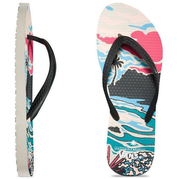 Vans Womens Hanelei (54 BRL) ❤ liked on Polyvore featuring shoes, sandals, flip flops, multi, vans footwear, hawaiian sandals, vans flip flops, hawaiian flip flops and nautical shoes