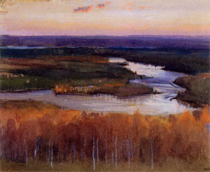 Eero Nikolai Järnefelt - Autumn Landscape with a River