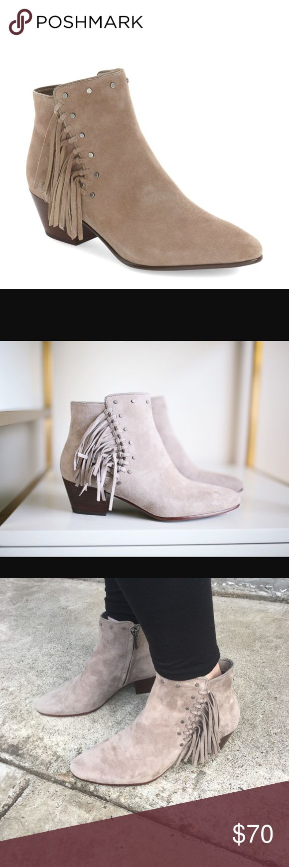 """Sam Edelman 'Rudie' Fringe Bootie Worn a couple of times! Please Note: These are a size 7 WIDE! Only flaw is pictured (2 small pink marks on the inside of the left shoe) Other than that these are in great condition! Slip-knotted fringe and antiqued flathead studs trace the edge of a wardrobe-staple suede bootie, adding trend-right boho embellishment—with an edgy twist—to the classic almond-toe silhouette. 2"""" heel  4 1/2"""" bootie shaft. Side zip closure. Sam Edelman Shoes Ankle Boots & Booties"""
