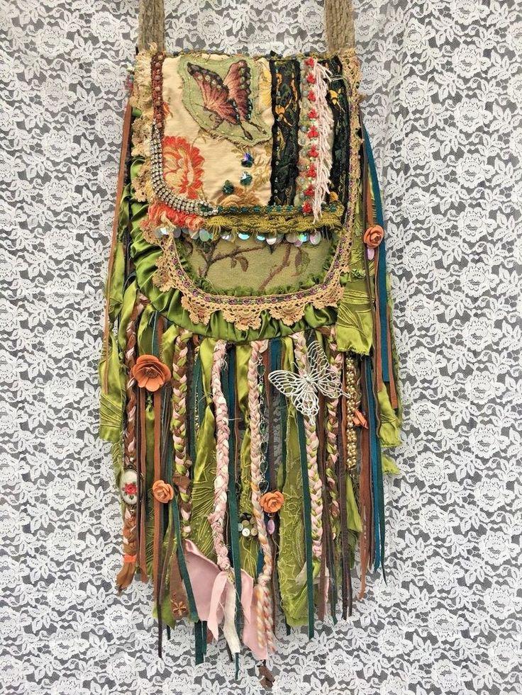 Handmade Swarovski & Vintage Jewelry, Upholstery Fabric Fringe Hippie Bag B.Joy  | eBay