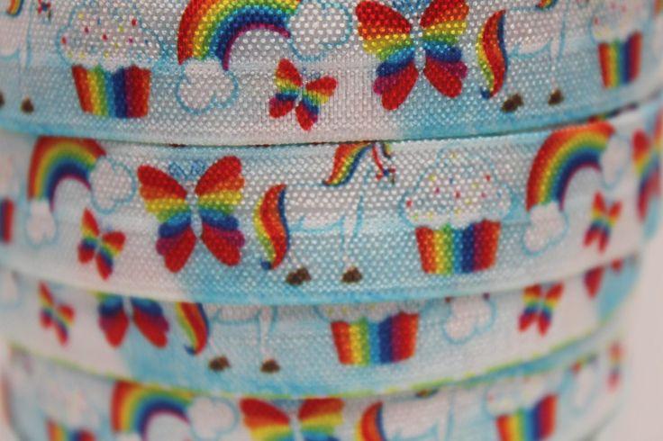 "Rainbow Unicorn Print FOE 5/8"" -Fold Over Elastic 5/8 inch by the yard...Print FOE, Headbands, Hair Ties and More!"