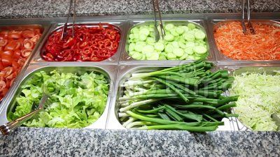 Various vegetables and salads - swedish buffet catering.