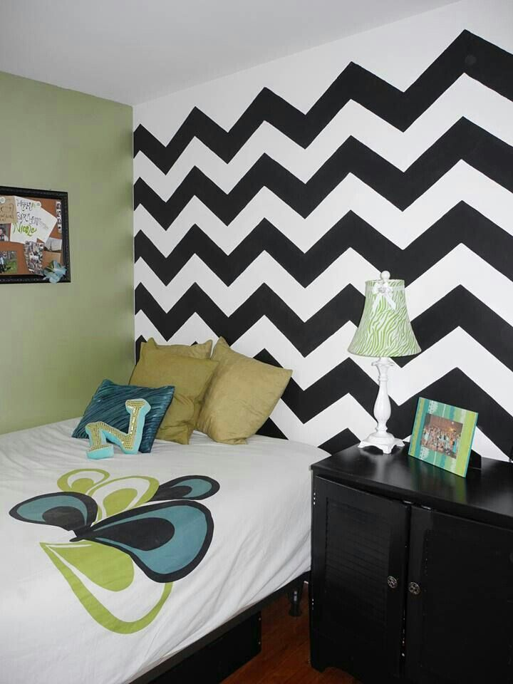Girls Bedroom Idea Chevron Wall Ideas For Home Pinterest
