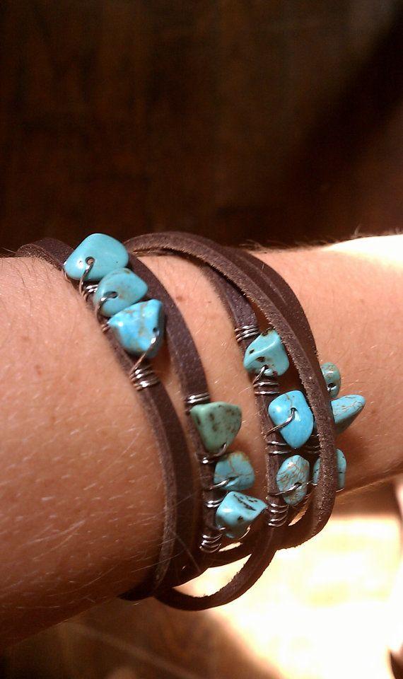 chocolate leather bracelet with turquoise stones