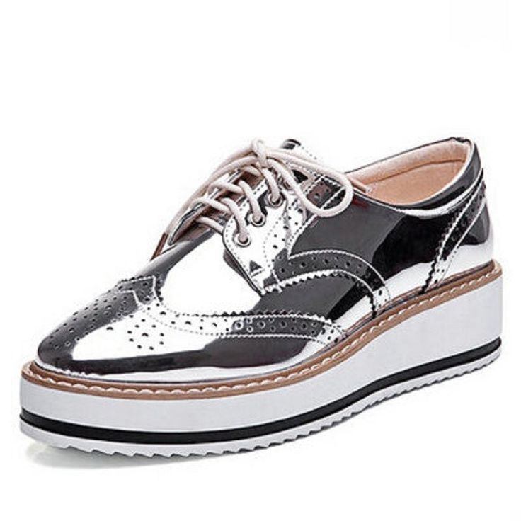New mulheres asas Oxford Lace Up plataforma listrada metálico de prata do…