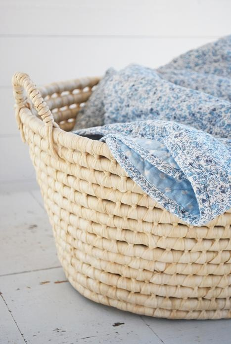 basket | blue and white blanket