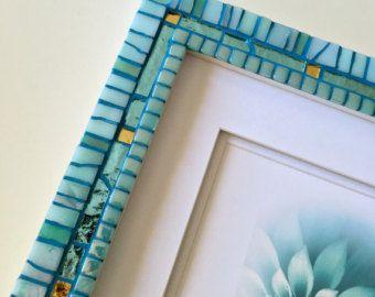 Aigue marine Decor, cadre photo mosaïque, cadre décoratif, cadeau de mariage, nouvelle maison cadeau, cadeau de fiançailles, plage décoration, Art de la mosaïque murale