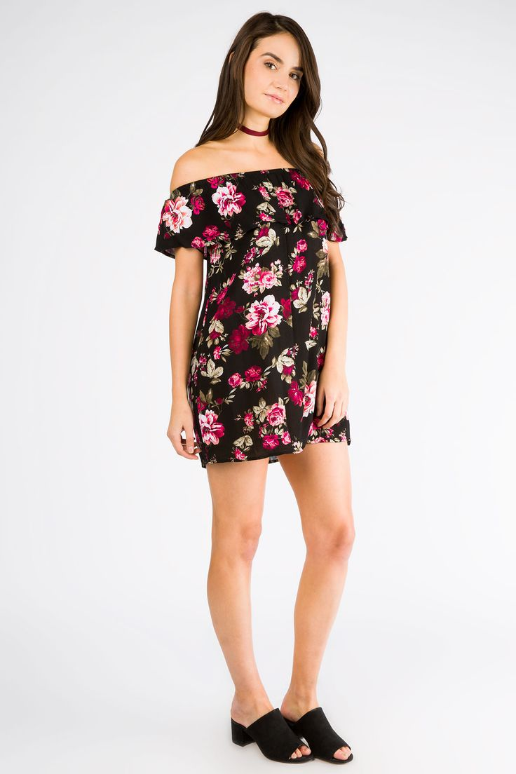 Girls All Over Print Ruffle Off the Shoulder Dress