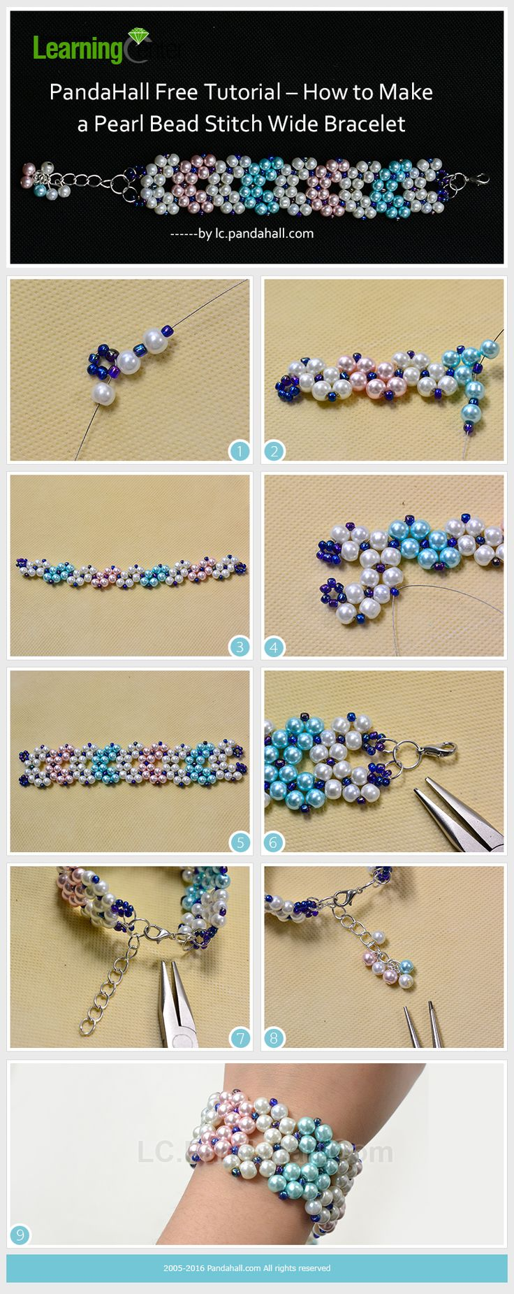 PandaHall Free Tutorial – How to Make a Pearl Bead Stitch Wide Bracelet from…