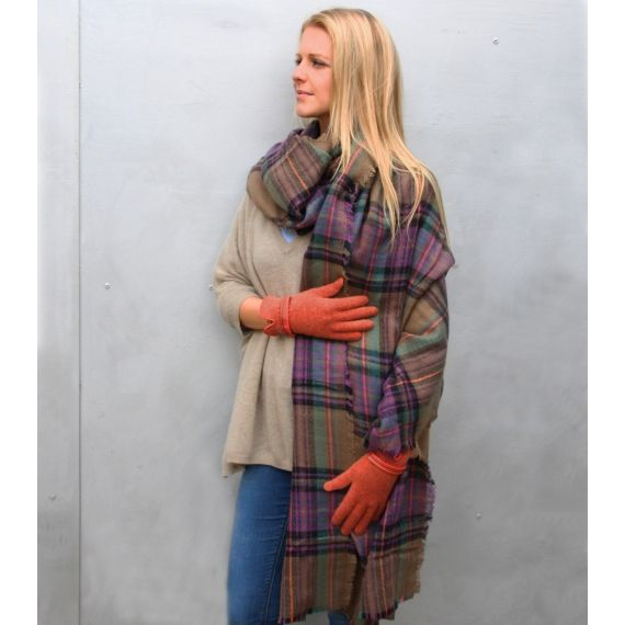 Aspiga Codello Checks Plaid Scarf in Olive. £30. Worldwide Shipping Available.
