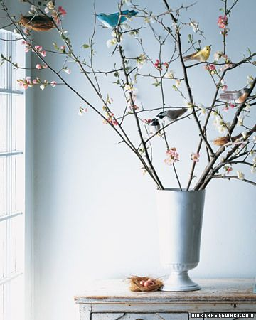Martha Stewart's perfect forced spring blooms and faux birds
