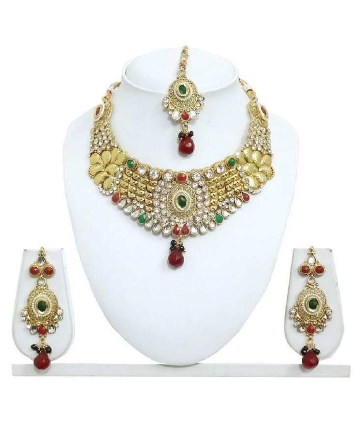 Party Wear Choker Bollywood Red Green Stone Gold Plated Indian Necklace Set #natural_gems15