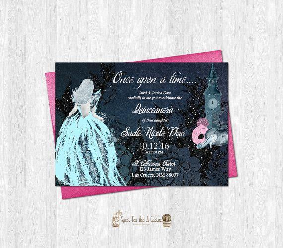 Cinderella Quinceanera Invitation Sweet Fifteen Sixteen