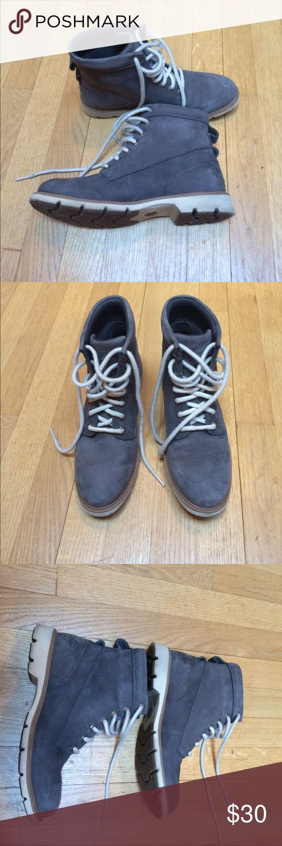 Gray suede Timberland boots Grey suede/soft nubuck leather Timberland boots. Original cream colored laces. Gently used. Timberland Shoes Ankle Boots & Booties