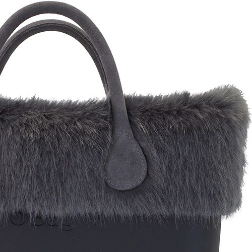 Grey Faux Fur Trim on Black O bag mini, short leather handles
