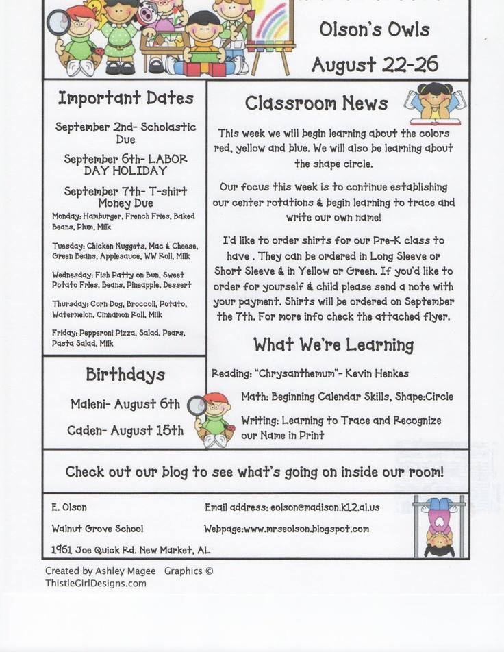 Mrs. Olson's Rockin' Kindergarten Krew: Weekly Newsletter