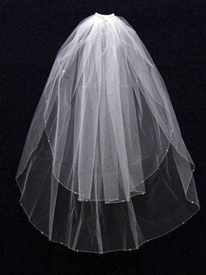 2 Layer Handworked Beaded Edge Wedding Veil 2012, White Wedding Veil, Ivory Wedding Veil, $25,60