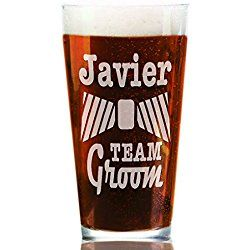 Personalized Craft Pub Glass Personalized w/ Name His Pint Man Men Glasses for Groomsmen Best Man Usher, Bachelor Gift, Groom's Crew Entourage Party Bridal Favor