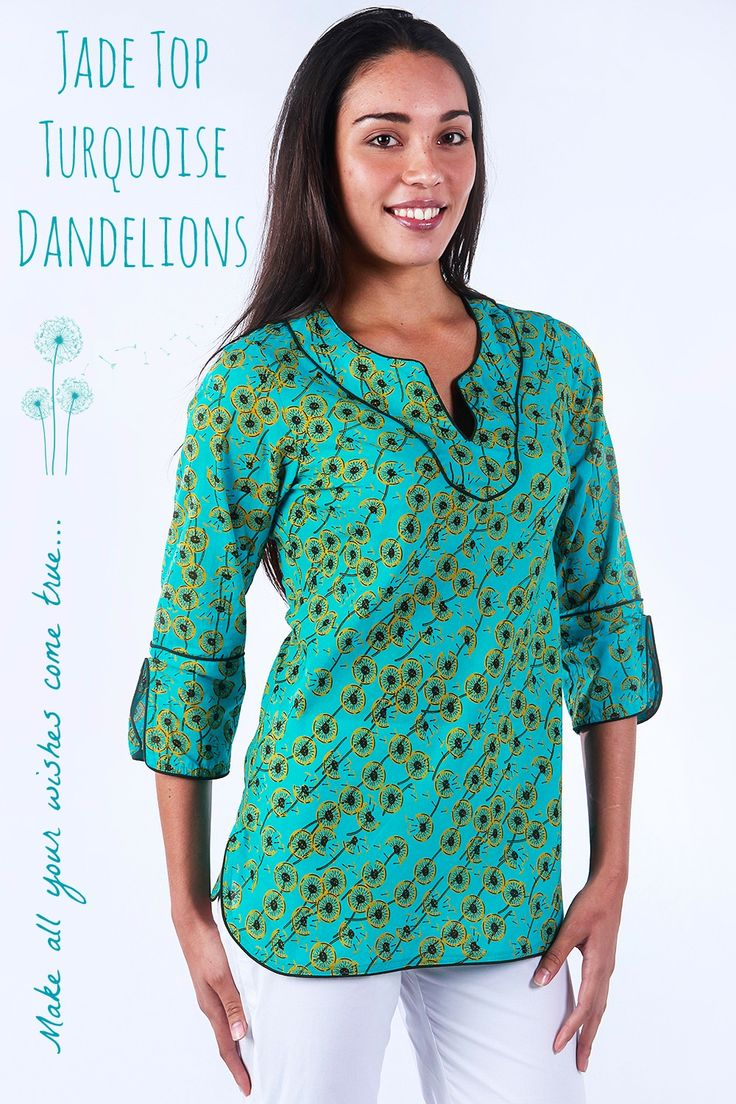 Make a wish on our Turquoise Dandelion print...seen below in the Jade Top...the perfect transeasonal style.