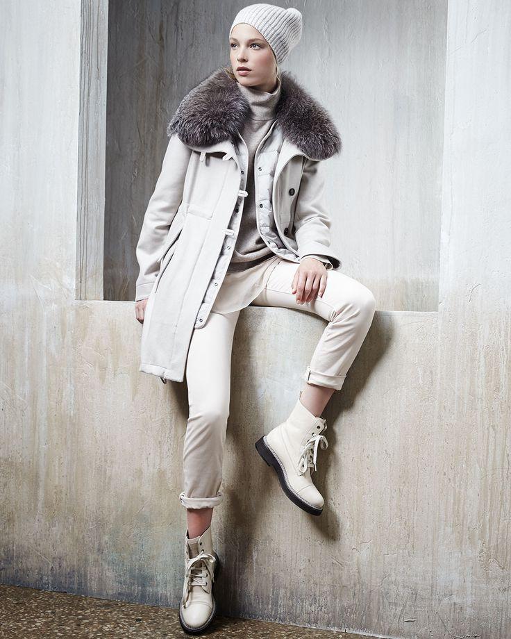 Brunello Cucinelli Cashmere-Blend Paillette Beanie Hat, Cashmere Fox-Collar Coat, Turtleneck & Skinny Jeans