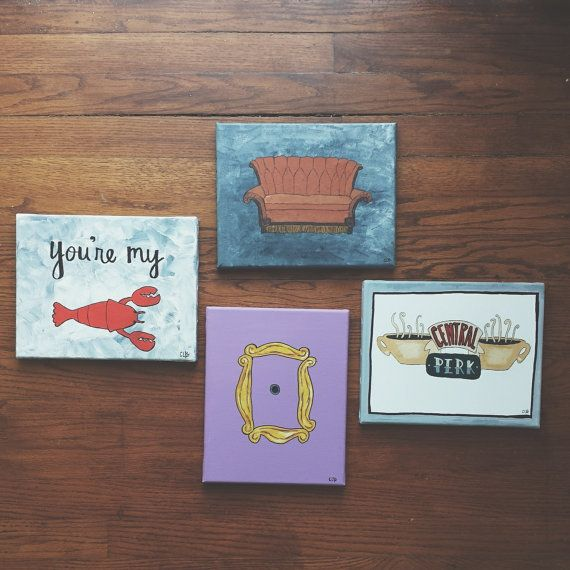 FRIENDS Tv Show Themed Paintings by HappyHeartArtPage on Etsy