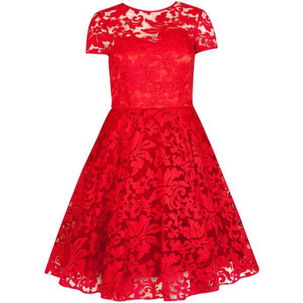 Ted Baker Sheer Floral Dress ($224) ❤ liked on Polyvore featuring dresses, vestidos, red, short dresses, sheer dress, see through dress, red full skirt, mini dress et red cocktail dress