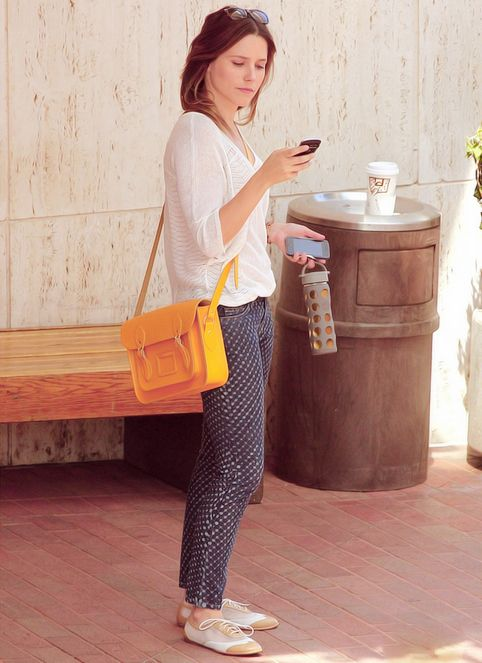 Sophia Bush - Simple yet stylish. I might own those patterned pants. Flexible for a day of doing things.