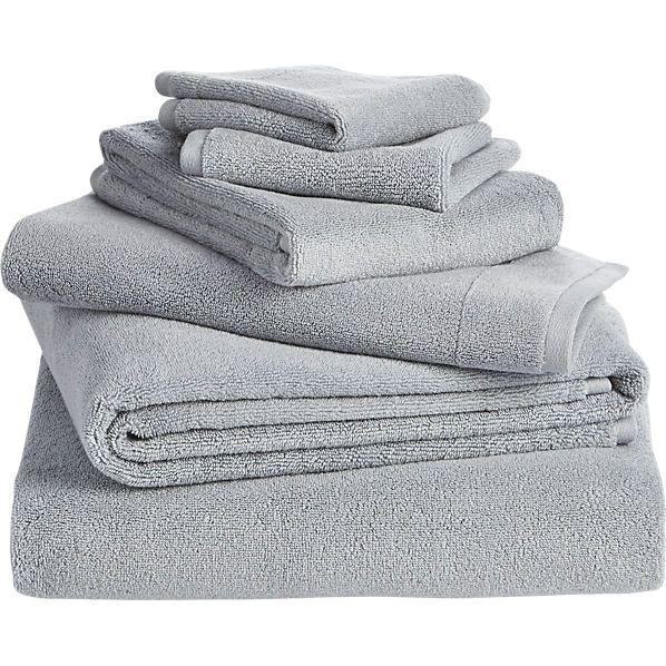 6-piece smith silver grey bath towel set    CB2