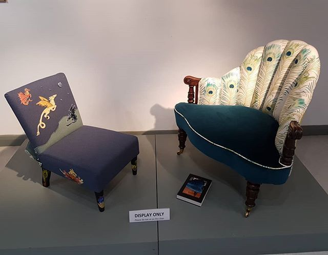 Two of our student's unique #upholstery pieces now on display @FIRA #Stevenage #upholstery #reupholstery #upcycle #recycle #restoration #upholsterer #furniture #bespoke  #furnituredesign #chairs #armchairs #traditionalupholstery #midcentury #furnituredesign #furniturefacelift #fabrics #students #upholsterycourses #AMUSF #schoolforgrownups #creativedesign #professionalupholstery