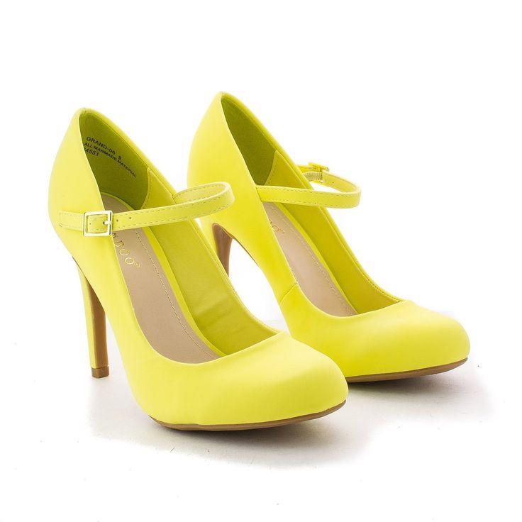 60's Retro Vintage Pinup Lady Lemon Yellow Mary Jane High Heels Pump Shoe