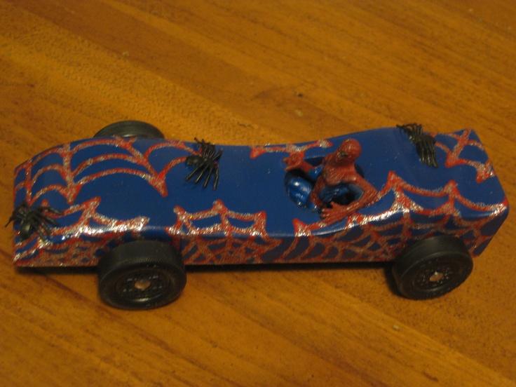 liam u0026 39 s spiderman pinewood derby car