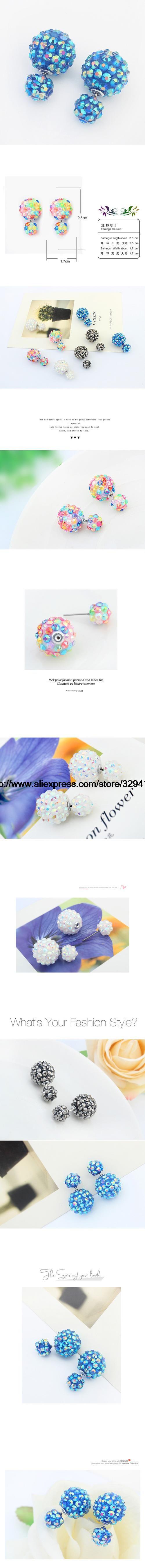 Star Jewelry 4 Цветов Мода Корея Поп Цветочный Кристалл Дешевый Двухместный Стороны Серьги Большой Жемчужные Серьги Свободный Корабль купить на AliExpress