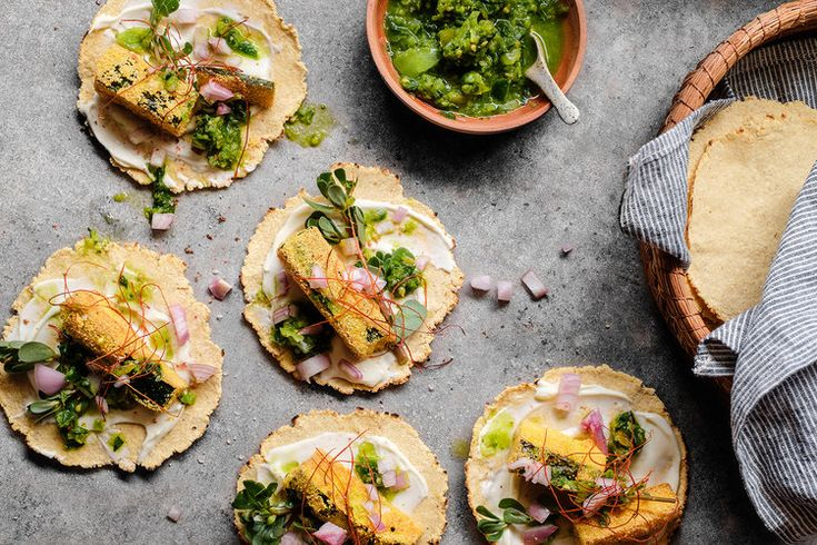 Crispy Zucchini Tacos w Raw Green Salsa and Homemade Corn Tortillas. Recipe and styling by Cle-ann, photo by Hugh Adams.