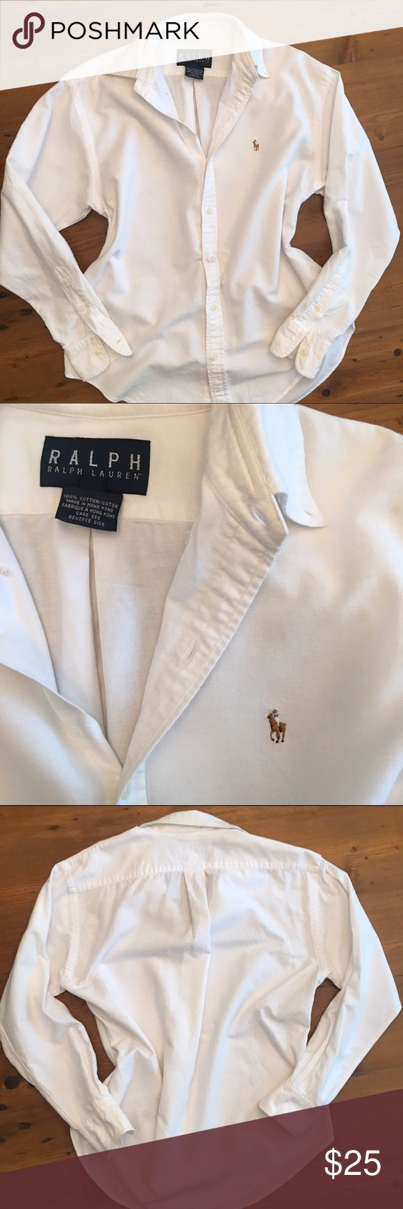 Women's Ralph Lauren Classic White Button Up Shirt Women's Ralph Lauren Classic White Button Up Shirt. Size Small 4-6. No stains great condition. Bundle 2 or more items and get 20% off! Ralph Lauren Tops Button Down Shirts