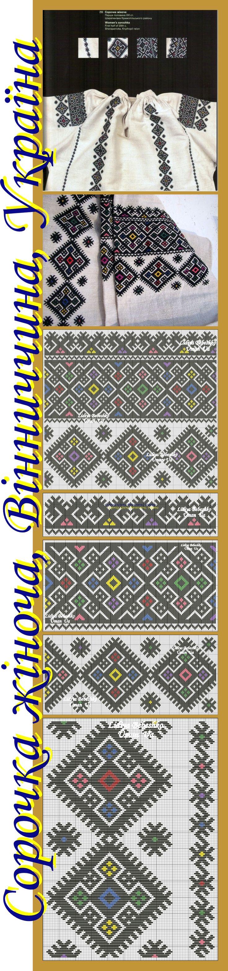 Вишивка на жіночій сорочці з Вінниччини, Східне Поділля, Україна